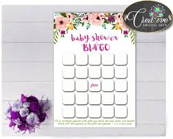 floral baby shower printable bingo gift cards game with