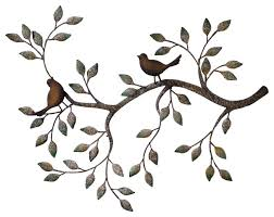 24 branches birds decorative metal wall sculpture traditional