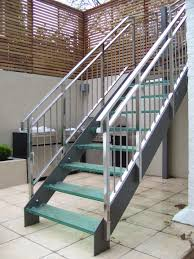metal landing banister and railing brilliant ideas of outside metal staircase with metal landing