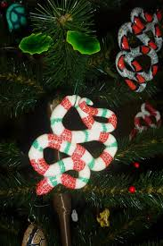 snakes christmas tree ornament green red and white striped