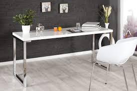 pied pour bureau bureau design blanc laqué et pieds en acier chromé luc 160 cm