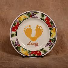 birth plate keepsake baby footprints handprints ceramic plates created using