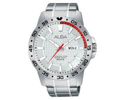 steel bracelet images Alba men 39 s hand watch active stainless steel bracelet and silver jpg