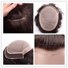 1 inch of hair french lace front silk lace hairpiece with 1 inch poly coating at