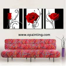 Red Home Decor Hand Painted Pictures Abstract India Landscape Oil Painting Wall