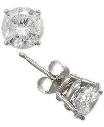 earrings diamond certified diamond stud earrings in 14k gold or white gold 2 ct