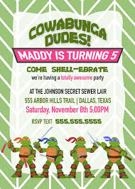 girls ninja turtle party invitation birthday invitation