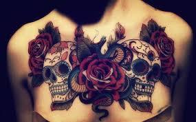 sugar skulls and on chest tattooshunt com