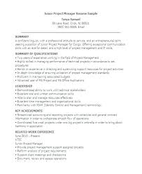 resume samples for project managers software project manager
