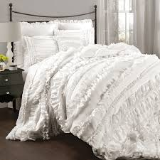 Bedding Set Queen by Shop Lush Decor Belle 4 Piece White Queen Comforter Set At Lowes Com