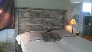 weathered gray rustic wood headboard weathered