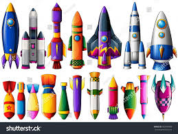 different kind rocket ships bombs illustration stock vector