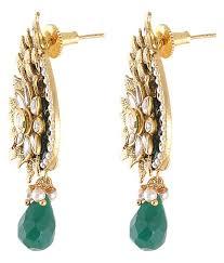 Buy Designer Gold Plated Golden Monjero Designer Gold Plated Kundan Green Colour Drops Earrings