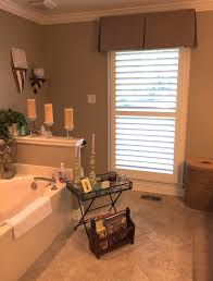 Budget Blinds Brandon Single Panel Plantation Shutters With A Board Mounted Fabric