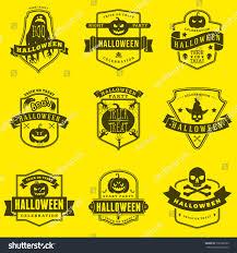 set happy halloween badges labels vector stock vector 732786523