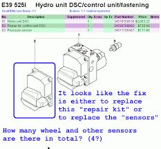 2002 e39 asc brake abs lights on u003d u003e diagnostic procedure u0026 parts