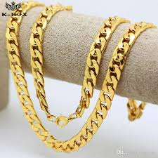 mens gold curb necklace images 2018 2018 10mm 30inch real 24k yellow gold plated solid cuban jpg
