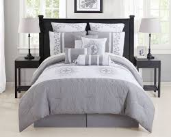 gray and white california king comforters with rustic black wood