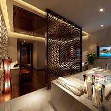 home spa room spa room with designer wooden partition 3d model