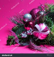 decoration pink silver balls stock photo 162657767