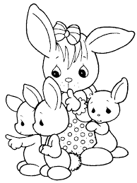 easter colouring cute easter bunnis print color