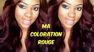cheveux rouge acajou ma coloration rouge bordeaux youtube
