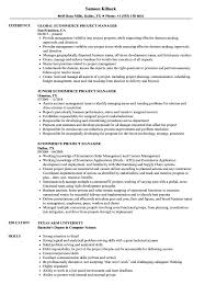 project manager resume ecommerce project manager resume sles velvet