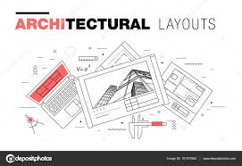 Architectural Layouts Architectural Layouts In Trendy Polygonal Line Composition U2014 Stock