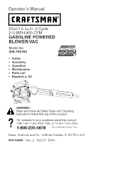 craftsman blower 358 794760 user guide manualsonline com