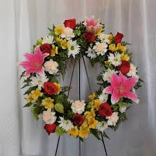 garden seasonal mixed wreath werner harmsen funeral home of