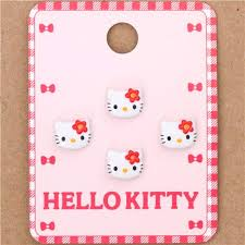 small kitty red flower button 4 pieces sanrio