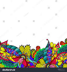 doodle presentations colorful doodle floral border abstract bright stock illustration