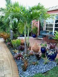 Modern Front Yard Desert Landscaping With Palm Tree And Florida Landscaping Ideas South Florida Landscape Design