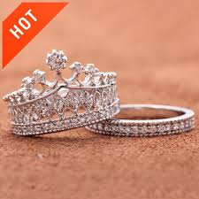 crown engagement rings images Crown rhinestone pave women engagement ring set evermarker jpg