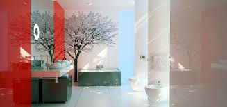 fresh red and black bathroom wall decor 823