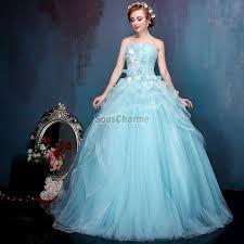 robe de mariã e bleue robe de bal princesse robe mariée colorée à bustier en tulle bleu