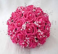 wedding flowers pink hot pink roses wedding flowers with crystals ipunya