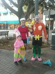 spongebob and patrick with mermaid man and barnacle boy