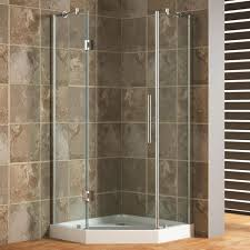 chic tile shower with accent tile and shower bench for neo angle