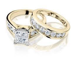 princess cut gold engagement rings princess cut engagement ring and wedding band set 1 carat