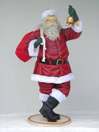 santa claus with bell statue life size 6ft christmas decor