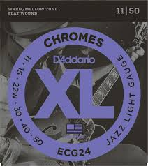 Light Guitar Strings by D U0027addario Ecg24 Chromes Flat Wound Electric Guitar Strings Jazz