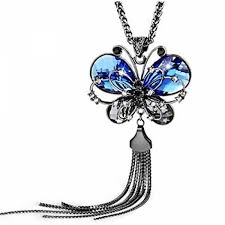 butterfly long chain necklace images Yutii antique style butterfly blue crystal long chain pendant jpg