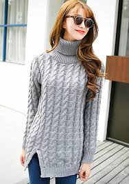 high sweaters grey plain cable knit high neck pullover sweater pullovers