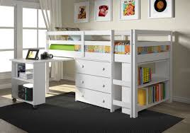 wooden loft bunk bed with desk white wooden loft bed connected with rectangle side table plus