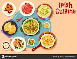 cuisine irlandaise traditionnelle dîner traditionnel de la cuisine irlandaise avec icône dessert