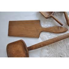 antique wood kitchen tools utensils butter paddle grain scoop