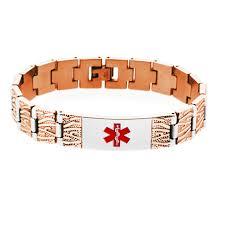 engraved bracelets rose gold tree design medical id bracelet