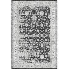 Damask Area Rug Black And White Antique Look Modern Feel Gray Rug Grey Rugs Traditional Design