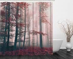 Winter Scene Shower Curtain by Amazon Com Woodsy Shower Curtain Red Mystic Forest Mystical